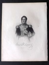 Fisher (Pub) 1845 Antique Portrait Print. Louis Philippe, King of the French